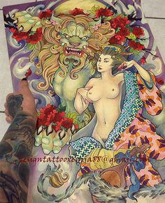 Tattoo Design - Foo Dog  and Geisha by Xenija88
