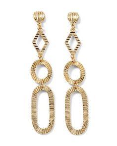 Goldtone Textured Drop Earring - White House | Black Market