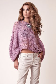 Alpaca sweater Cropped Pink Sweater for women knitted by beWoolen~ #ᏰᏫᏂᏫ