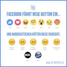 """Neue Facebook Button - wo bleibt nur der norddeutsche """"MOIN."""" & """"Ahoi"""" Button???"""