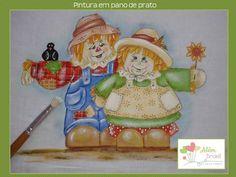 Pano de prato - pintado à mão - casal de espantalho - Além Brasil