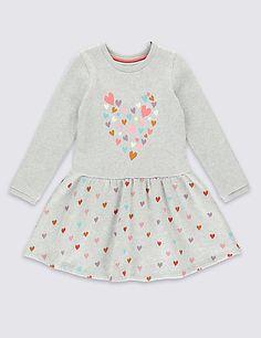 Cotton Rich Flower Jersey Dress (1-7 Years)   M&S