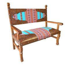 Spanish Heritage Bench with Inka Fabric from Lone Star Western Decor. | Stylish Western Home Decorating