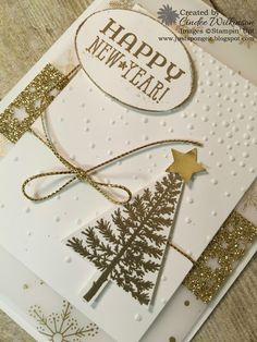Just Sponge It: Stampin' Up! Only, Happy New Year! Softly Falling Embossing Folder, Big Shot, Festive of Trees Stamp Set, Tree Punch, Lg. Oval Punch, Itty Bitty Punch Pack, Gold Cording, Gold Glimmer Paper, Gold Foil, Confetti Stars Punch, Winter Wonderland Vellum, Six Sayings Hostess stamp set, DIY, Stampin' Up! New Years Cards