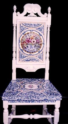 Mosaic Chair in Blue Toile.....FURNITURE IS ABOUT RECLAIMING THE OLD TO MAKE IT NEW AGAIN. I SCOUR YARD SALES, THRIFT SHOPS AND EVEN SIDEWALK DISCARDS TO FIND OLD CHAIRS AND TABLES THAT JUST NEED SOME TLC AND A PLAN TO REINVENT THEM INTO BEAUTIFUL AND FUNCTIONAL PIECES.