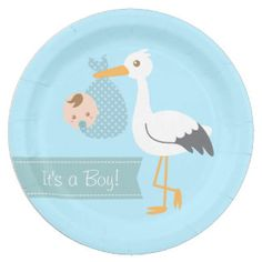 Stork Delivery Cute Baby Boy Shower Party 9 Inch Paper Plate