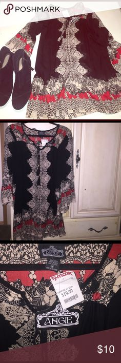 NWT Angie boho dress size M You'll be ready for festival season in this Angie boho style dress. I purchased this dress at TJ Maxx for 19.99. It has bell sleeves, and is perfect with booties or wedges 👡 Angie Dresses