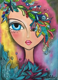 Art Pop, Mandala Art, Arte Popular, Whimsical Art, Portrait Art, Face Art, Doodle Art, Painting Inspiration, Art Pictures