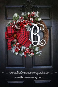 Winter Christmas Grapevine Wreath with Burlap. by WreathDreams