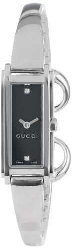 Gucci Women's YA109518 G-Line Black Dial Two Diamonds Watch
