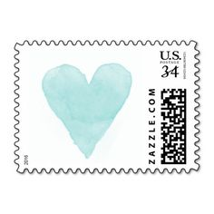 Turquoise blue watercolor heart wedding stamps #wedding#heart#ideas