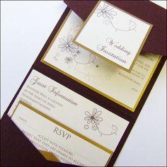 Pocketfold Wedding Invitation with crystal by WeddingParaphernalia