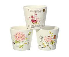 Jogo de 3 vasos de cerâmica Sofia Postal, 13,5 X 13,5 cm