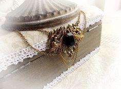 Renaissance black Swarovski crystal aged brass choker medieval