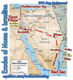 Sinai Peninsula with Red Sea. Exodus from Egypt into Arabia (Saudi Arabia / Midian)