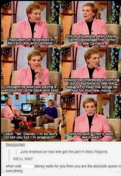 Julie Andrews Is The Queen Of Everything and this just shows how wonderful a man Walt Disney was ❤ Disney Pixar, Walt Disney, Kuzco Disney, Disney Memes, Disney And Dreamworks, Disney Love, Disney Magic, Funny Disney, Disney Stuff