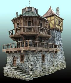 Ideas to be taken in building tiny home 2 storey tower. Floor 2 Writing Den with great desk and built in library with moveable shelves. Ideas to be taken from: Mistral Fantasy World: Il Laboratorio Fantasy House, Fantasy World, Medieval Houses, 3d Modelle, Wargaming Terrain, Modelos 3d, Fantasy Miniatures, Warhammer Fantasy, Stone Houses