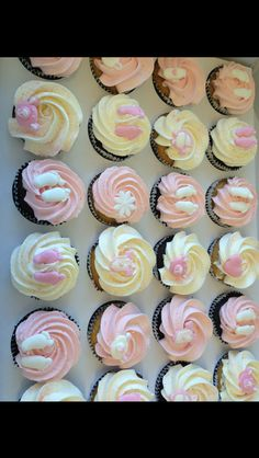 Christening or baby shower cup cakes Baby Shower Cupcakes, Shower Cakes, Communion Cakes, Cup Cakes, Celebration Cakes, Christening, Shower Ideas, Party Ideas, Desserts