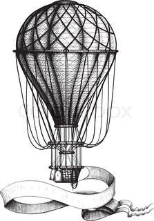 Vintage Heißluftballon mit banner