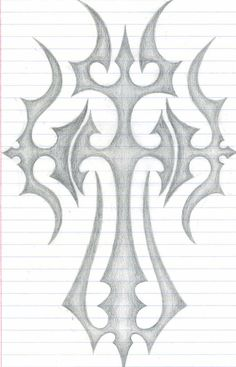 Tattoos Discover The Cross by DarkKamikazi on DeviantArt this is a design inspired by the cross.i hope u like it.i had a great time drawing this design.expect more designs from me Cross Drawing, 3d Art Drawing, Dark Art Drawings, Art Drawings Sketches Simple, Pencil Art Drawings, Beautiful Drawings, Easy Drawings, Easy Graffiti Drawings, Cross Tattoo Designs