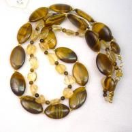 Handcrafted citrine and Tiger's eye double strand necklace by Dixie Dazzle