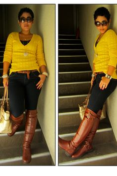Discover this look wearing Yellow American Eagle Sweaters, Burnt Orange Lulus Boots, Navy Forever 21 Jeans - They Call Me Mellow Yellow by mimig styled for Casual, Shopping in the Fall Girl Fashion, Fashion Looks, Fashion Outfits, Womens Fashion, Fashion Sewing, Fall Winter Outfits, Autumn Winter Fashion, Classy Outfits, Stylish Outfits