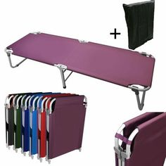 Magshion Portable Military Fold Up Camping Bed Cot + Free Storage Bag- 5 Colors (Purple) Camping Cot, Camping Stove, Camping Gear, Camping Hacks, Outdoor Camping, Camping Supplies, Camping Near Me, Backpacking, Oregon Camping