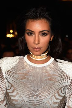 Kim Kardashian attends the Balmain show as part of the Paris Fashion Week Womenswear Spring/Summer 2015 on September 25, 2014 in Paris, France.