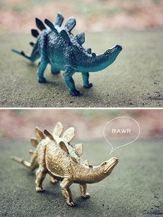 Random idea - spray paint a dino toy gold.  I know just the person who would LOVE this ;)