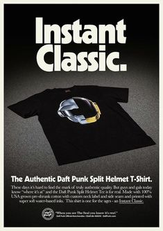 "Daft Punk have updated their website to feature the image, above—a sleek advertisement for their new ""Split Helmet"" T-shirt, as The Daft Club notes. It costs $40 and is their first piece of official apparel since Random Access Memories came out last year."