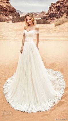 oksana mukha 2018 bridal off the shoulder sweetheart neckline ruched bodice tullel skirt romantic a line wedding dress corset back chapel train (lila) mv -- Oksana Mukha 2018 Wedding Dresses