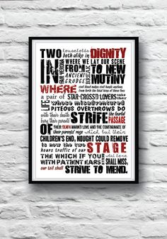 ROMEO and JULIET Shakespeare quote Minimalist poster by Redpostbox, £8.00