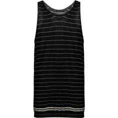 Haider Ackermann striped tank top (1,361 CAD) ❤ liked on Polyvore featuring men's fashion, men's clothing, men's shirts, men's tank tops, black, men's striped tank tops, mens stripe shirts and mens striped shirt