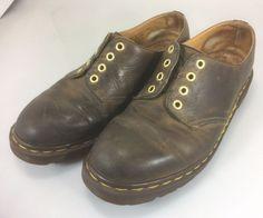 Dr Martens Brown Aztec Crazy Horse Shoes 4 Eyelets No Laces  #DrMartens #Oxfords