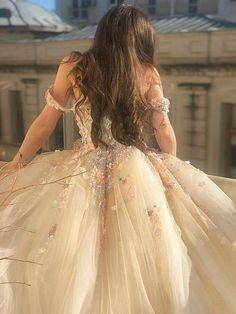 Floral Prom Dresses, Quince Dresses, Pretty Dresses, Beautiful Dresses, Blush Prom Dress, Floral Gown, Ball Gowns Evening, Ball Gowns Prom, Ball Gown Dresses