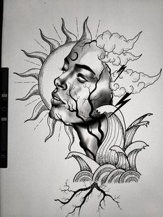 Dark Art Drawings, Tattoo Design Drawings, Art Drawings Sketches Simple, Pencil Art Drawings, Cool Drawings, Tattoo Sketches, Pictures For Drawing, Drawing Ideas, Tattoo Outline Drawing