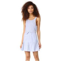 6 Shore Road by Pooja Windmill Dress featuring polyvore women's fashion clothing dresses blue stripes flutter-sleeve dress pinstripe dress blue ruffle dress frill dress flounce dress
