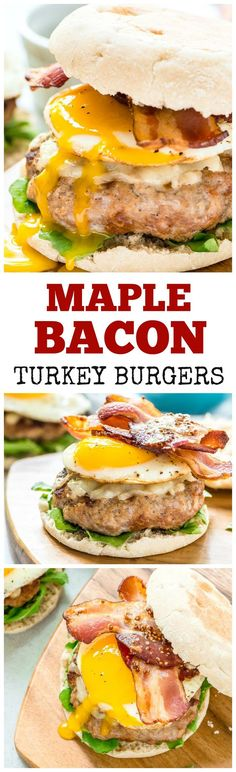 Maple Bacon Turkey Burger recipe — Juicy maple mustard turkey patties, crispy bacon, melty cheddar cheese, and a fried egg. Recipe at wellplated.com @wellplated