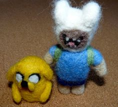Felted Finn and Jake from adventure time by WoodlandFeltCrafts, Needle Felting, Adventure Time, Teddy Bear, Toys, Animals, Animales, Animaux, Finn Jake, Animais