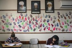 Students study for the final exam.