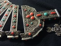 Mongolian lady's headdress. Silver filigree, granulated, coral and turquoise inlay. 19th c