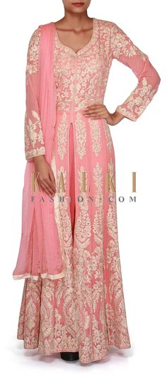 Buy Online from the link below. We ship worldwide (Free Shipping over US$100). SKU - 276478. Product Link - http://www.kalkifashion.com/baby-pink-anarkali-suit-adorn-in-thread-embroidery-only-on-kalki.html