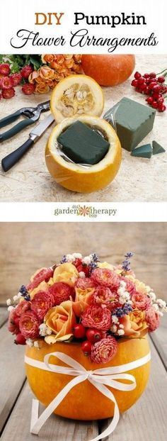 Fabulous Fall & Thanksgiving Decoration Ideas - For Creative Juice DIY Pumpkin Flower Arrangements. These pumpkin flower arrangements make beautiful decor pieces for your fall indoors and outdoors, How To Make Pumpkin, Diy Pumpkin, Pumpkin Vase, Pumpkin Planter, Pumpkin Floral Arrangements, Diy Flower Arrangements, Halloween Flower Arrangements, Wedding Arrangements, Pumpkin Flower
