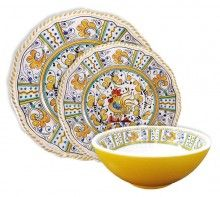 Blue Rooster Melamine Dinnerware Set Service For Four  Outdoor Melamine  Dinnerware Home And Patio