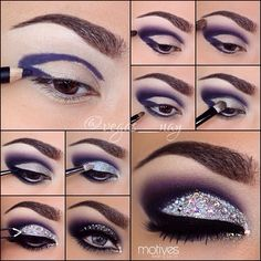 ** Motivescosmetics✨ **STEPS⤵️ 1.) prime eyes & pencil in cut crease w/ khol liner in AMETHYST 2.) blend out using the pencil using BREAKING DAWN eyeshadow & apply a smidgen of ONYX e/s so there are no harsh lines 3.) highlight brow bone with VANILLA 4.) line bottom lash line w/ AMETHYST kohl liner & smudge down using GALAXY e/s 5.) apply BLING eyeshadow to lid and inner lower lash line; this will insure...
