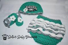 Philadelphia Eagles Diaper cover, hat and booties by BellasBabyTreasures on Etsy
