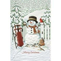 Pack of 16 Snowman with Birds Fine Art Embossed Deluxe Christmas Greeting Cards - Walmart.com