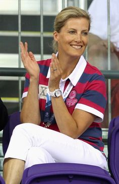 Sophie Countess of Wessex watches the English cycling team compete at the commonwealth games News Photo 452610012