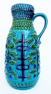 Bay Fat Lava Floor Vase Blue Turquoise POP OP ART Vintage WGP