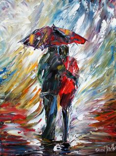 Custom Original Oil Painting Commission Romance Couple palette knife fine art modern impressionism on canvas by Karen Tarlton.